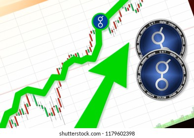 Golem (GNT) index rating go up on exchange market; cryptocurrency chart on tablet pc (smartphone) with arrow pointing up and coins Golem. Place for text (prices); top view