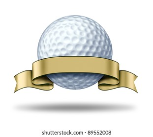 Golf Award with blank gold label showing a golfing tournament champion symbol as a white golf ball and golden ribbon as a concept of golfer sports competition winning and golf course  game activity.