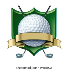 Golf Award with green crest and blank gold label showing a golfing tournament champion symbol as a white golf ball and golden ribbon for golfer sports competition winning and golf course country club.
