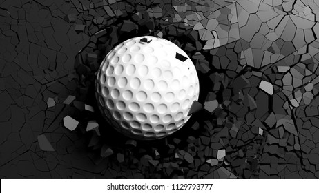 Golf ball breaking with great force through a black wall. 3d illustration.