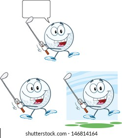 Golf Ball Cartoon Character Swinging A Golf Club. Raster Collection