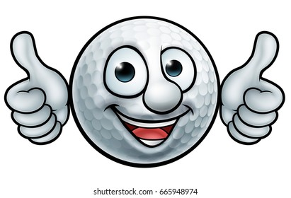 A golf ball cartoon sports mascot
