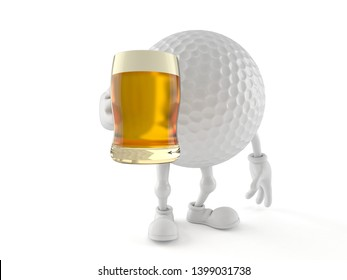 Golf ball character holding beer glass isolated on white background. 3d illustration