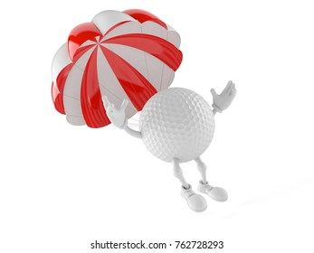 Golf ball character with parachute isolated on white background. 3d illustration