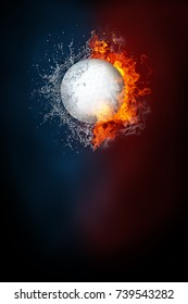 Golf ball exploding by elements fire and water. Background for sports tournament poster or placard. Vertical design with copy space.
