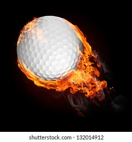 Golf ball in fire flying up - illustration
