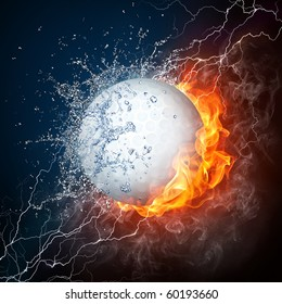 Golf ball in fire and water. Illustration of the golf ball enveloped in elements on black background. High resolution golf ball in fire and water image for a golf game poster.