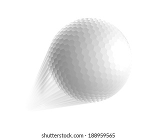 Golf ball is flying in the air.  illustration