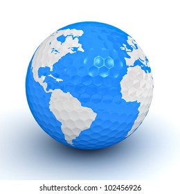 Golf ball with globe map on white background