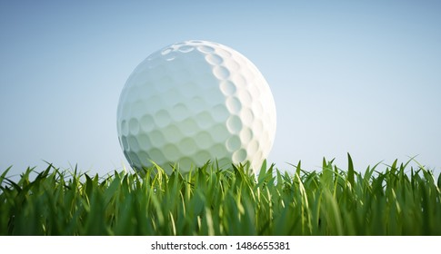 Golf ball in grass - 3d illustration