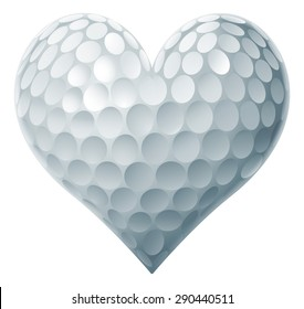 Golf Ball Heart concept of a heart shaped golf ball symbolising the love of golf.