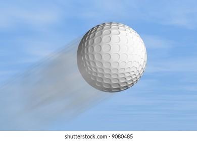 A golf ball hit into the sky