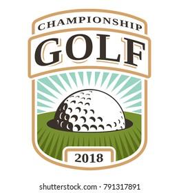 Golf ball in hole logo design on white backgound. (RASTER VERSION)