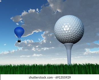 Golf ball and hot air balloon   3D rendering