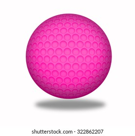 Golf ball isolated on pink with clipping path