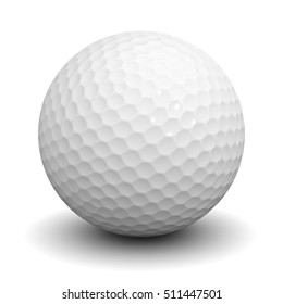Golf ball isolated over white background with shadow. 3D rendering.