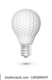 Golf ball light bulb / 3D illustration of light bulb shaped golf ball isolated on white background