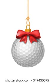 Golf ball like christmas baubles. Ball with red bow. Isolated illustration on white background