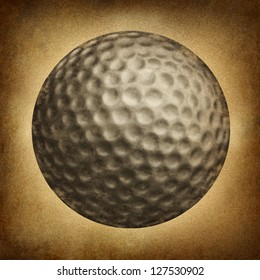 Golf ball in an old vintage grunge texture on parchment paper as a traditional sporting symbol of  an individual leisure game played on an eighteen hole course.