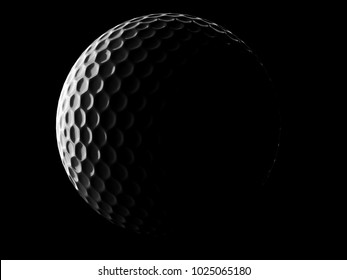 Golf ball on black background. 3d illustration