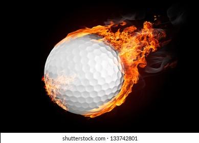 Golf ball on fire flying down - illustration
