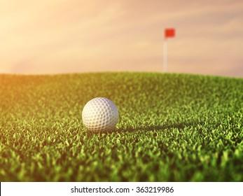 Golf ball on grass course at dusk  , Tournament