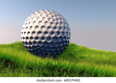The Golf ball on the grass lawn under the open sky.3D render