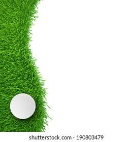 golf ball on grass. realistic grass. close up