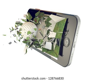 Golf ball on smart-phone isolated on white