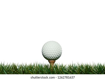 Golf ball on tee placed in the grass isolated on white background 3DCG illustration