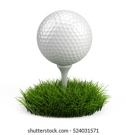 Golf ball on white tee and green grass isolated on white. 3d render