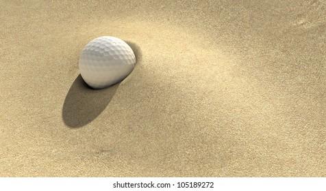 A golf ball plugged deep in a sand trap