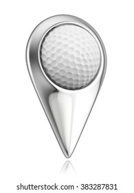 Golf ball in the pointer. Map pointer designed in golf style. 3D concept isolated on white background.