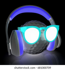 Golf Ball With Sunglasses and headphones. 3d illustration. On a black background.