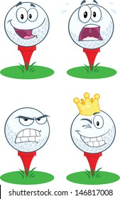 Golf Ball With Tee Different Expression. Raster Collection