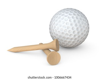 Golf Ball and tees. Classic white Golf Ball and 2 wooden tees pegs on white background. 3d Render.