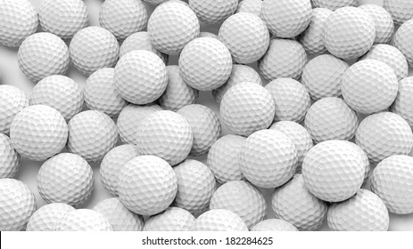 Golf balls pile group closeup isolated on white. 3d illustration