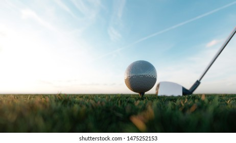 Golf balls that are being hit by golf clubs.Are hitting the golf course in the morning.3d rendering.Blur the grass to make the golf ball look outstanding.
