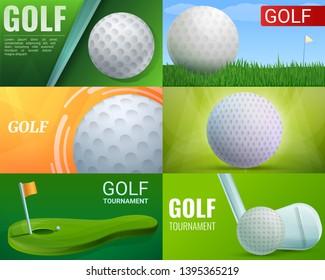 Golf banner set. Cartoon illustration of golf banner set for web design