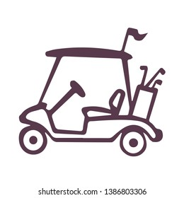 Golf Cart Vehicle Transport for Movement Colorful Icon Isolated on White Background Flat Illustration Logo Template