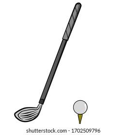 Golf Club and Ball Illustration