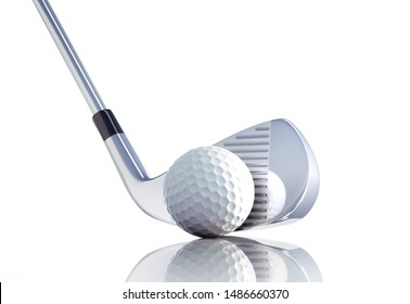 Golf club and ball on a white background - 3D illustration