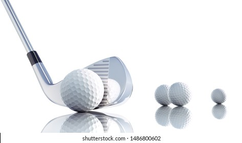 Golf club and balls  on a white shiny background - 3D illustration