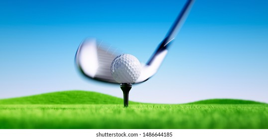 Golf club hits a golf ball off its tee on a blue sky background - 3D illustration