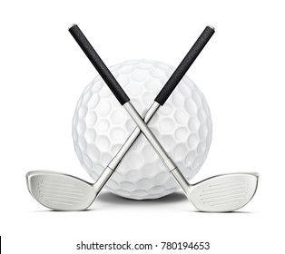 golf clubs isolated on a white. 3d illustration