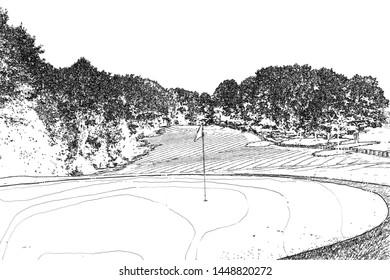 GOLF COURSE DESIGN FAST BLACK&WHITE SKETCH