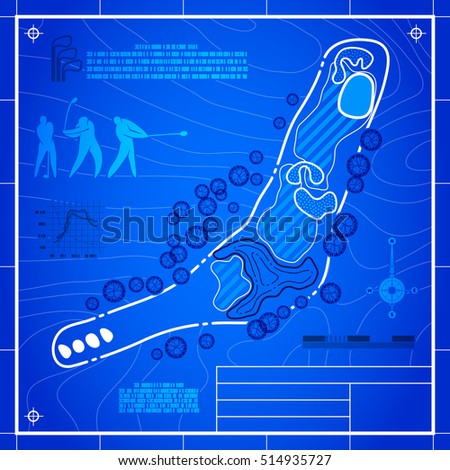 Golf Course Layout Abstract Design Stylized Stock Illustration ... on