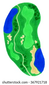 Golf field top view. Hand-drawn field for golf game on the white background. Real watercolor drawing