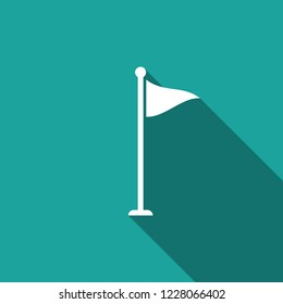 Golf flag icon isolated with long shadow. Golf equipment or accessory. Flat design