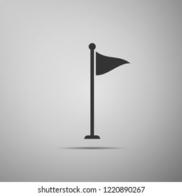 Golf flag icon isolated on grey background. Golf equipment or accessory. Flat design